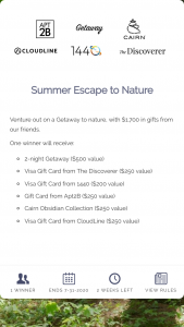 Getaway House – Summer Escape To Nature Sweepstakes