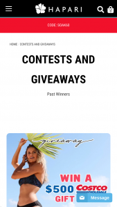 Hapari – Costco Gift Card Giveaway – Win Costco Gift Card  $100 HAPARI Credit 2nd Prize $100 HAPARI Credit 3rd Prize $75 HAPARI Credit