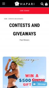 Hapari – Costco Gift Card Giveaway – Win Costco Gift Card  $100 HAPARI Credit 2nd Prize $100 HAPARI Credit 3rd Prize $75 HAPARI Credit