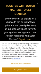 Itg Cigars – Dutch Masters Master The Machine Instant Win Game And – Win $25000 cash prize awarded as a check