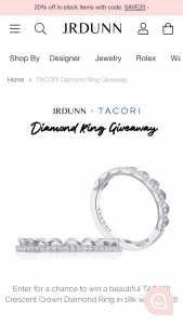 Jr Dunn Jewelers – Tacori Diamond Ring Giveaway – Win (1) TACORI Crescent Crown 1/2 way Diamond Ring in 18k White Gold with a retail value of $2090