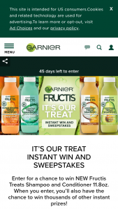 "L'oreal USA – Garnier It's Our Treat Instant Win Game And – Win Conditioner The Approximate Retail Value (""ARV"") of each Grand Prize is $15.98."