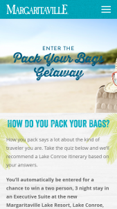 Margaritaville – Pack Your Bags Getaway – Win hotel accommodations for two (2) to the Margaritaville Lake Conroe Resort in Montgomery