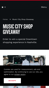 Nashville Convention & Visitors Corp – Music City Shop Giveaway Sweepstakes