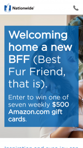 Nationwide – New Best Fur Friend – Win Sweepstakes during each Sweepstakes Period