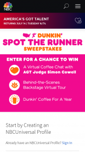 Nbcuniversal – Dunkin' Spot The Runner Sweepstakes