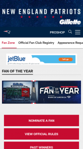 New England Patriots – Fan Of The Year Contest – Limited States Sweepstakes