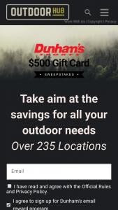 Outdoorhubcom – Dunham's $500 Gift Card Sweepstakes