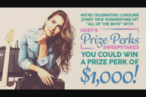 "Premiere Networks – Cody's Prize Perks – Win one thousand dollar ($1000.00) cash gift card (the ""al Card"").(Approximate Retail Value (""ARV"") $1000.00)."