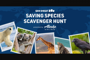 San Diego Zoo -Saving Species Scavenger Hunt – Win win 100000 Alaska Airlines Mileage Plan miles which will be credited to their Alaska Airlines Mileage Plan account