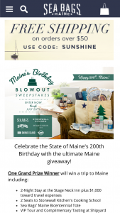 Sea Bags – Maine's Birthday Blowout – Win (items by all participating partners item ARV).