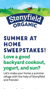 Stonyfield – Summer At Home Sweepstakes