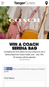 Tanger Outlet Centers – Coach Serena Giveaway – Win winner for each of the 29 Tanger Outlet Coach Store locations