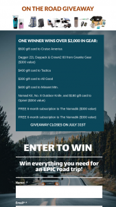 The Nomadik – On The Road Giveaway – Win the following On the Road Giveaway gear and is valued around $2000 total