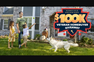 Veterans United Home Loans And Realtorcom – Home Field Advantage $100k Veteran Homebuyer Giveaway – Win will consist of cash in the amount of one US$100000 to be used to make a Qualifying Purchase of a home that the Winner would purchase own and occupy