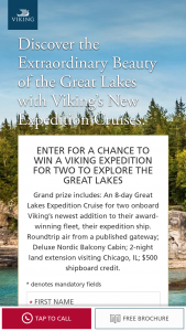 Viking Cruises – Q3 2020 Great Lakes Sweepstakes
