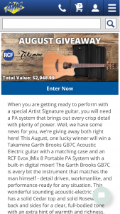 American Musical Supply – Takamine Garth Brooks Giveaway Sweepstakes