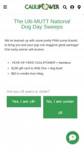 Caulipower – Ulti-Mutt National Dog Day – Win twenty-four (24) FREE CAULIPOWER product coupons