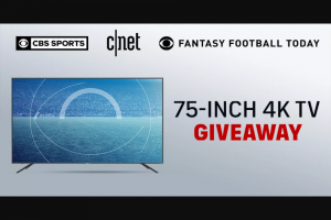 CNET – CBS Sports And CNET Great TV Giveaway – Win one (1) 75-inch Hisense H8G Quantum Dot 4K ULED Android Smart TV