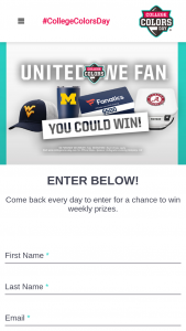 Collegiate Licensing – 2020 College Colors Day Weekly Sweepstakes