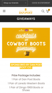 Dan Post Boots – Cocktails And Cowboy Boots Giveaway – Win one pair of Dan Post Boot Company boots