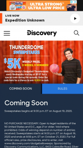 Discovery – Dodgeball Thunderdome – Win $5000 presented in the form of a check
