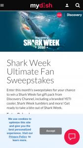 Dish – Ultimate Shark Week Fan – Win Yeti V Series Hard Cooler – Stainless Steel (ii) Four (4) Shark Week 2020 Logo Laser Etched Drinkware 30oz Tumbler in red (iii) Four (4) Shark Week Beach Towels (iv) Shark Week Stickers
