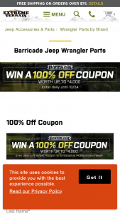 "Extreme Terrain – 100% Off Coupon – Win a ""100 off coupon"" in the form of $4000.00 in credit to use for the purchase of any parts and accessories available at extremeterraincom"