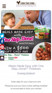 Farm Star Living – Meals Made Easy With One Step Done Sweepstakes
