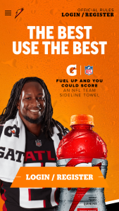 Gatorade – Towel Instant Win Game And – Win trip for Grand Prize winner and one guest to an NFL team's training facility chosen by the Grand Prize winner and a performance training session with an NFL coach as described further below