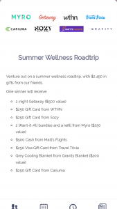 Getaway House – Summer Wellness Roadtrip Sweepstakes