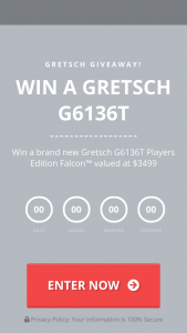 Guitar Institute – Ultimate Guitar Giveaway – Win a brand new Gretsch G6136T Players Edition Falcon valued at $3499.99 (10) Winners will receive free access to A Premium Guitar Institute Training Book Bundle valued at $47.