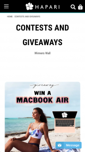 Hapari – Apple Macbook Air Giveaway – Win Air  $150 HAPARI Credit 2nd Prize $150 HAPARI Credit 3rd Prize $100 HAPARI Credit The approximate retail value of all prizes is $1000.