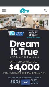HGTV – Dream It True – Win presented in the form of a check