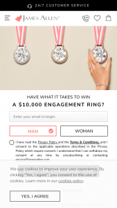James Allen – On-Site Challenge Ring Giveaway – Win a credit worth of up to US$10000 for buying items offered on the JamesAllen Website