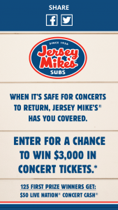 Jersey Mike's – Concerts For A Year – Win one $3000 Live Nation e-gift card