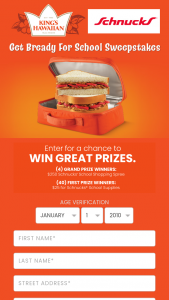 King's Hawaiian – Get Bready For School Sweepstakes