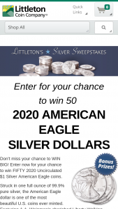 Littleton Coin – Silver – Win American Silver Eagles valued at $1497.50.