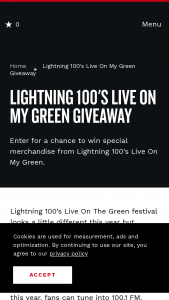 Nashville Convention & Visitors Corp – Lightning 100's Live On My Green Giveaway Sweepstakes
