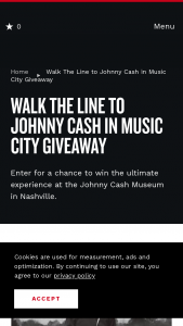 Nashville Convention & Visitors Corp – Walk The Line To Johnny Cash In Music City Giveaway Sweepstakes