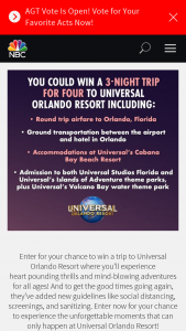 "Nbcuniversal Media – NBC's Epic Vacation – Win will consist of four (4) day three (3) night trip for Winner and up to three (3) Guests (""Guests"") to Universal Orlando Resort in Orlando Florida (""Trip"")."
