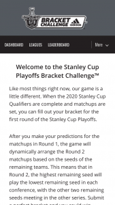 NHL – 2020 Stanley Cup Playoffs Bracket Challenge Sweepstakes