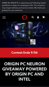 """Origin PC – Neuron Giveaway – Win (1) grand prize will be awarded to 1 winner only consisting of 1 ORIGIN PC NEURON gaming desktop (the """"Grand Prize"""") Total approximate retail value (""""ARV"""") of all Grand Prizes is $3000."""