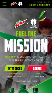 Pepsi-Cola Mtn Dew – X Team Rubicon 2020 Sweepstakes