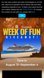 Quadra Productions Wheel Of Fortune – Carnival Week Of Fun Giveaway – Win aboard a Carnival Cruise ship