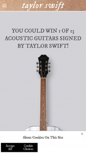 Republic Records – Taylor Swift Folklore Album Signed Guitars – Win one (1) acoustic guitar autographed by Taylor Swift