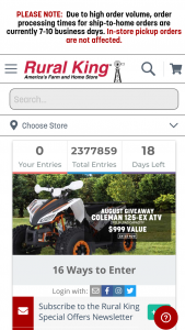 "Rural King – August 2020 Coleman Atv Giveaway – Win (1) Yerfdog 169cc/9hp Adult Coleman ATV (""Coleman ATV"") with an Approximate Retail Value (""ARV"") of $1000."
