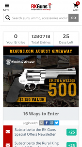 Rural King – August 2020 Giveaway – Win one (1) Smith & Wesson 500 Revolver with an ARV of $1150.