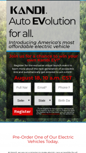 Sc Autosports – Kandi Auto Evolution For All Giveaway – Win of one (1) Kandi® K23 electric vehicle