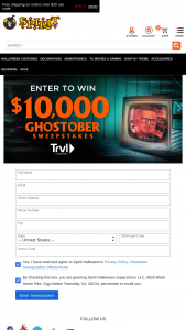 Spirit Halloween – $10000 Ghostober – Win $10000 cash in the form of a check